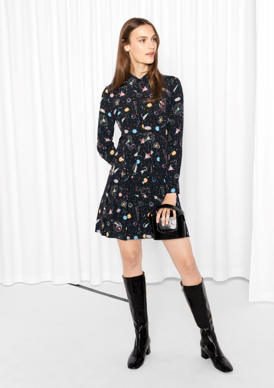 dd8f893549   Other Stories image 2 of Pleated Shirt Dress in Galaxy Print ...