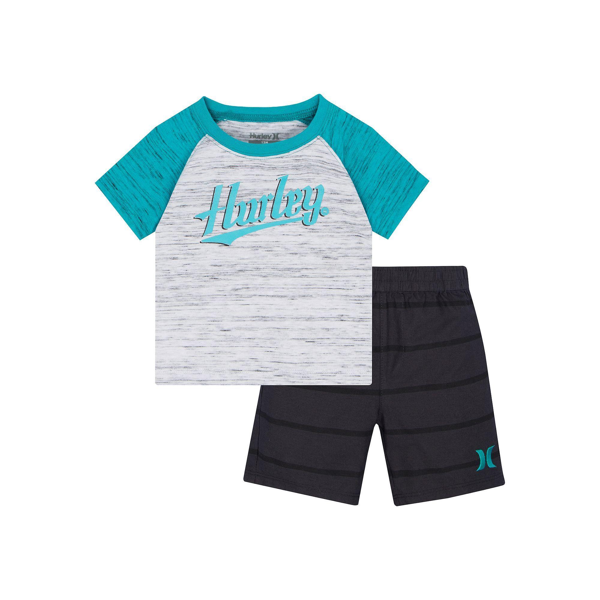 Baby Boy Hurley Raglan Logo Graphic Tee & Striped Shorts Set Size