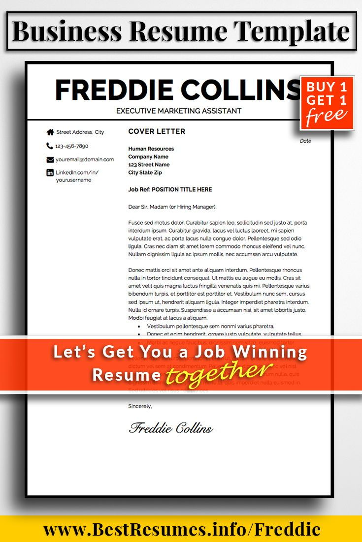 Professional Business Resumes Resume Template Freddie Collins  Business Resume Template Business .