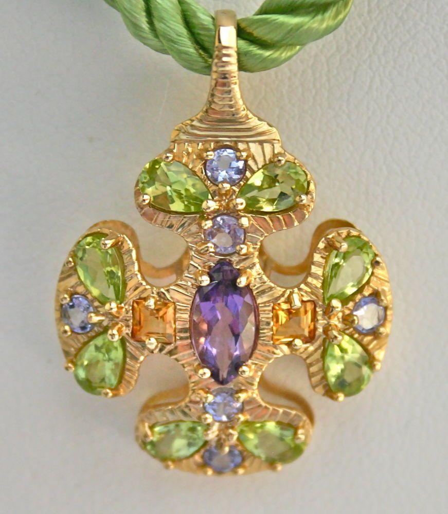 14k gold peridot amethyst tanzanite citrine cross pendant wcord 14k gold peridot amethyst tanzanite citrine cross pendant wcord 14k mexico aloadofball Gallery