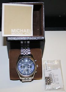4142ff08e Michael Kors Mens Lexington Chronograph Navy Blue Stainless Steel Watch  MK8280 691464950491 | eBay