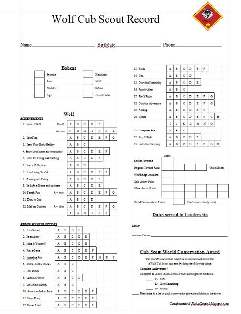 Cub Scout Wolf PRINTABLE Tracking Work Sheet Cub Scouts - Wolf - work tracking sheet