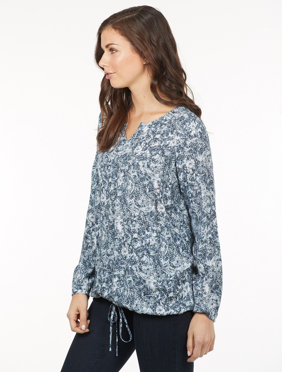 Fdj french dressing jeans paisley popover blouse french