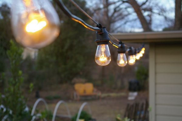 Garden String Lights Extraordinary Hang Sting Lights With Galvanized Wire  Outdoor Room Inspiration Design Ideas
