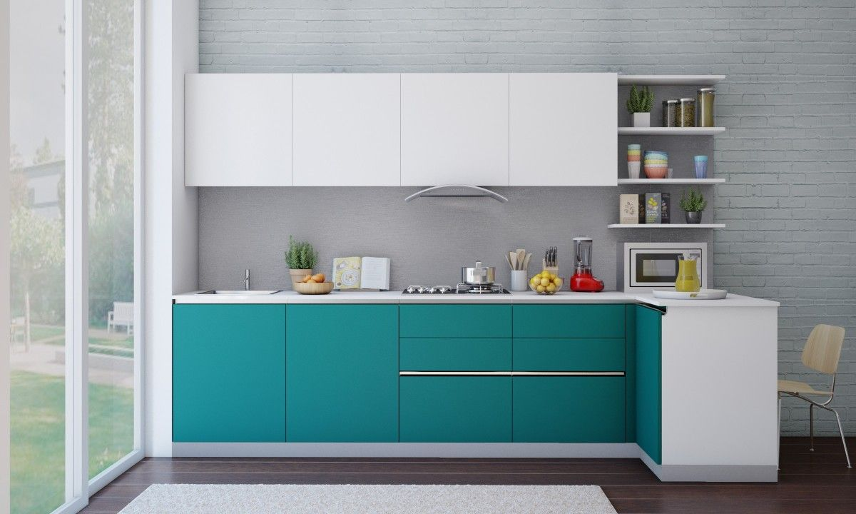 Pequena cocina en L blanca y celeste | kitchen set | Pinterest ...