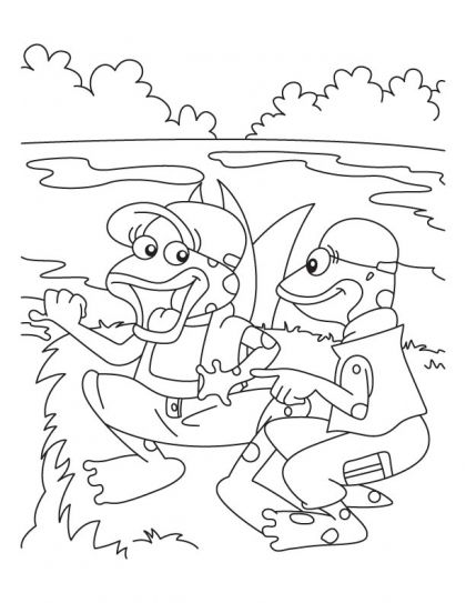 Two frog swimmer at the beach coloring pages | Download Free Two frog swimmer at the beach coloring pages for kids | Best Coloring Pages
