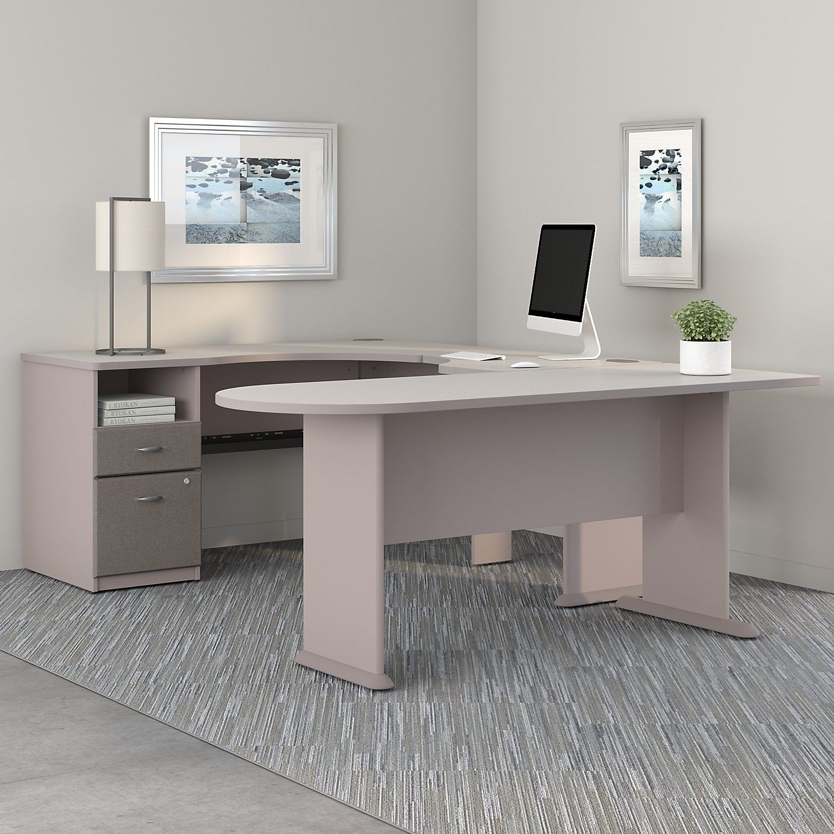 series a u shaped corner desk with peninsula and storage products pinterest business. Black Bedroom Furniture Sets. Home Design Ideas