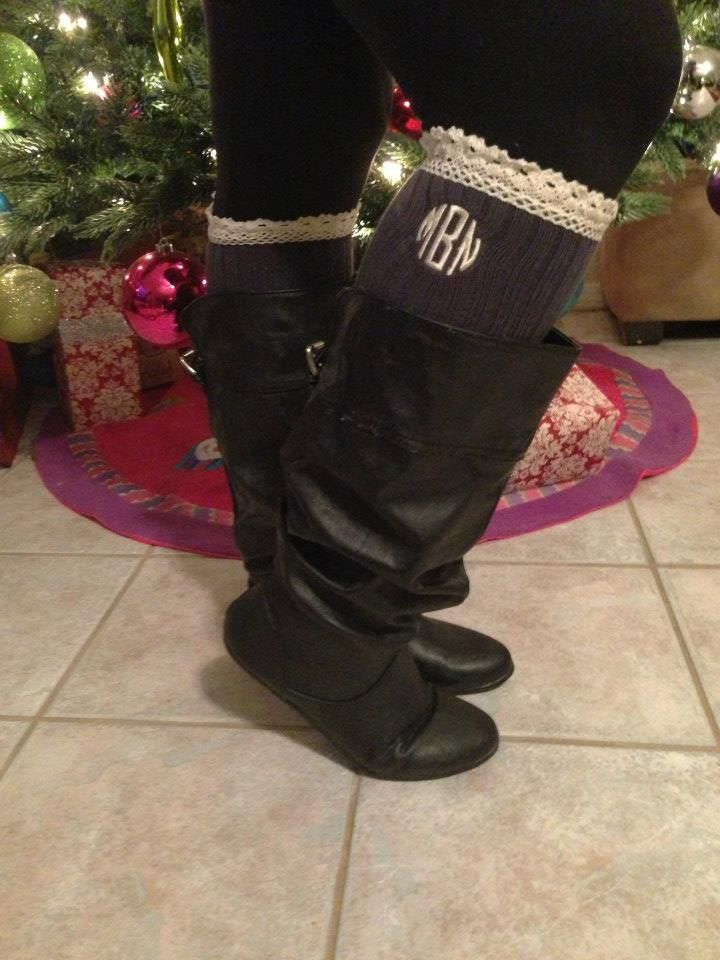 Monogrammed Lace Boot Socks  Initial Socks by CreationsSewFabulous, $18.00