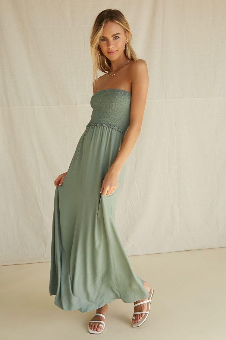 Strapless Smocked Bodice Maxi Dress Forever 21 Maxi Dress Free Flowing Skirt Strapless Dress Formal [ 1125 x 750 Pixel ]