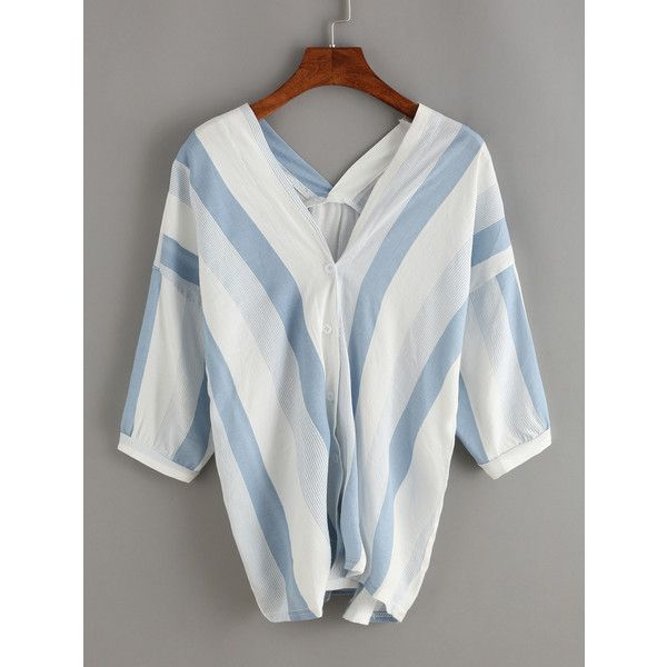 9f5dbd432d478d Vertical Striped Double V-Neck Blouse (16 CAD) ❤ liked on Polyvore featuring