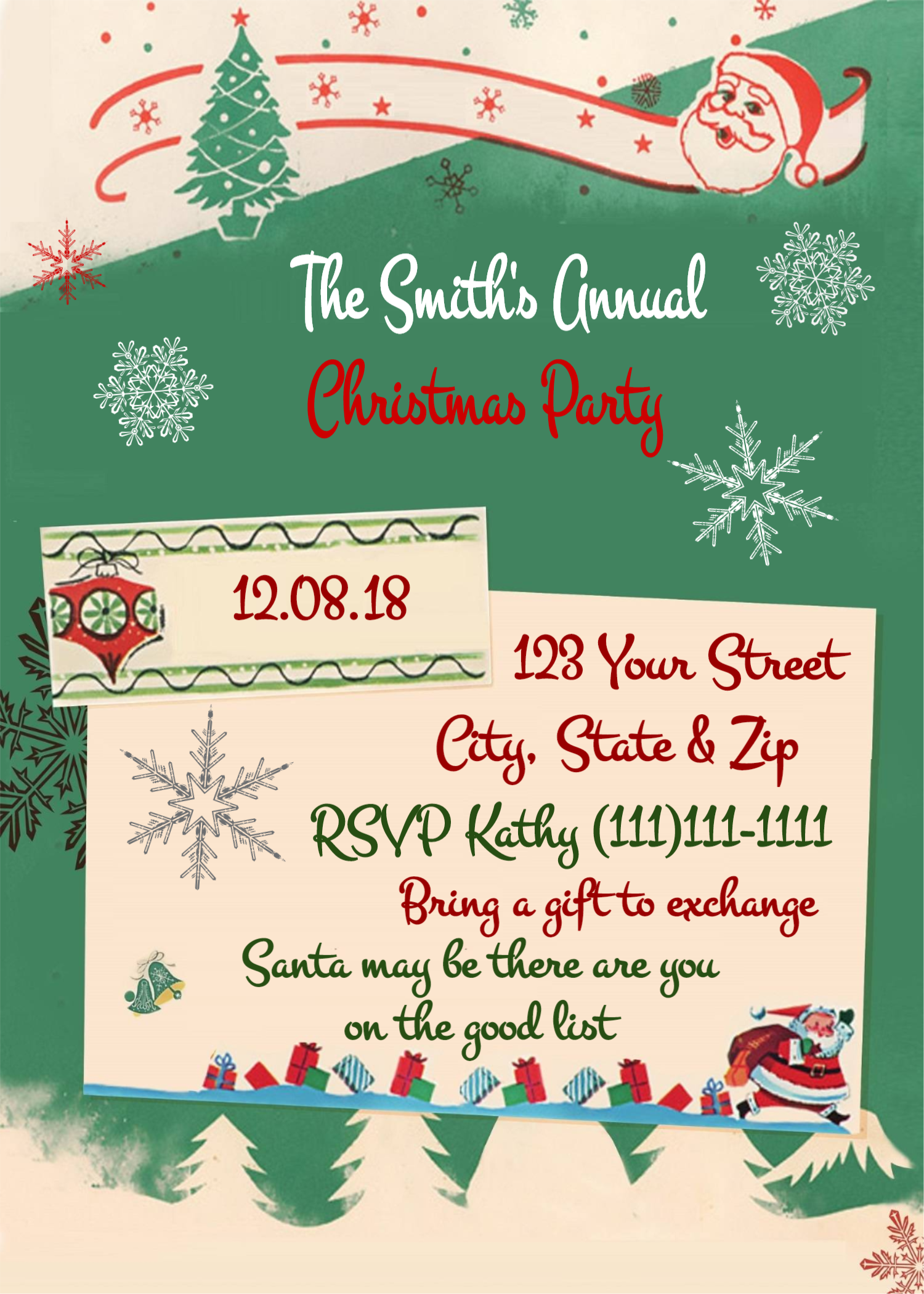 Christmas Invitation Christmas Party Invitation Holiday Party