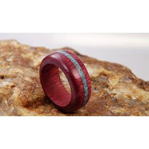 Engagement wood Ring, Redwood Inlay with Malachite