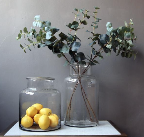 Eucalyptus Spray In Tall Jar Vase Adds Texture And Freshness To Any Interior Landscape Shop Foliage At Www Lis Co Uk Large Glass Vase Glass Jars Vases Decor
