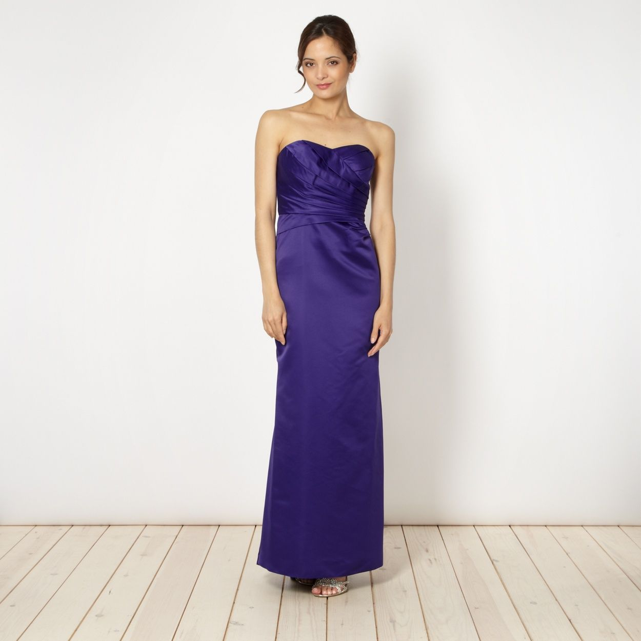This purple structured satin maxi dress from Debut has a pleated ...