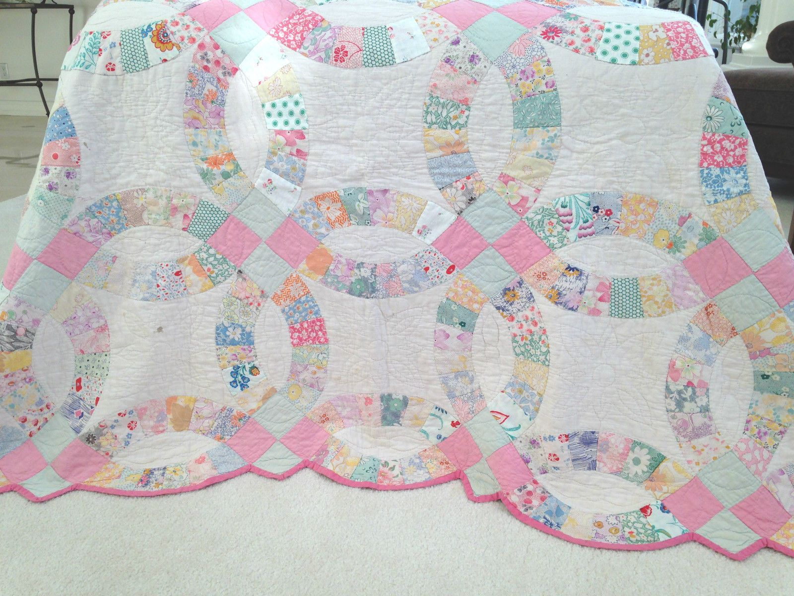 Shabby Cottage Vintage Wedding Ring Quilt 1930\'s Pink Green Pastels ...