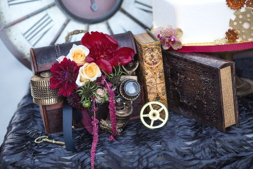 Steampunk Wedding Styled Shoot | Design: Each & Every Detail | Photography: Flashbox Photography | Floral: Haute Floral | Cake: Sweet Art Bakery | Paper: 5 by 7 Design | Dress: Bridal Boutique of Lewisville | Jewelry: Victorian Curiosities | Hair and Makeup: Beauty and the Blush | Venue: The Windsor at Hebron Park