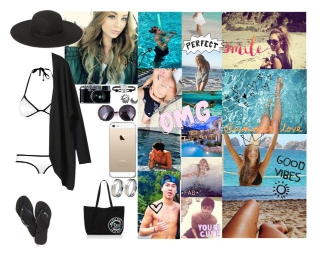 """beach with him hahaha' Love you Cal"" by caah-santos1 ❤ liked on Polyvore"