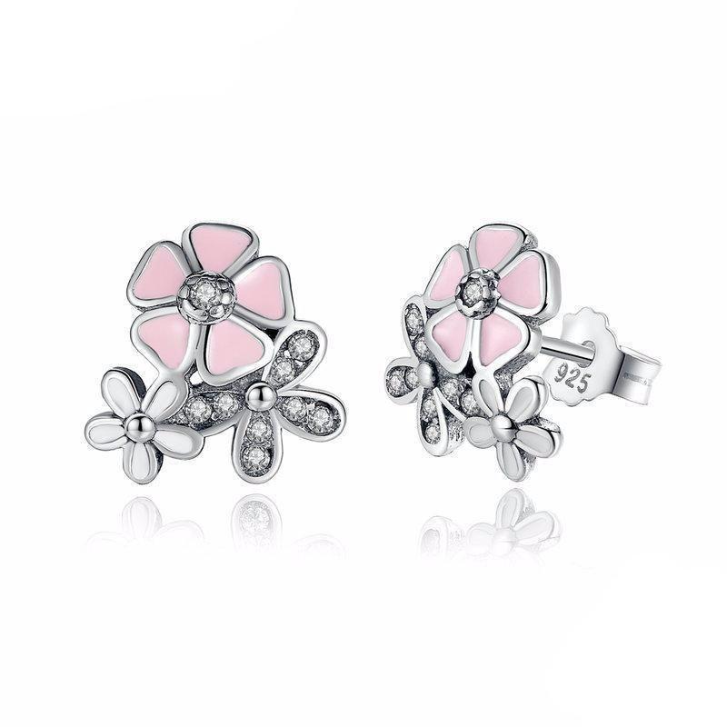925 Sterling Silver Pink Cherry Flower Blossom Earring In 2020 Silver Earrings Wedding Flower Earrings Studs Sterling Silver Earrings Studs