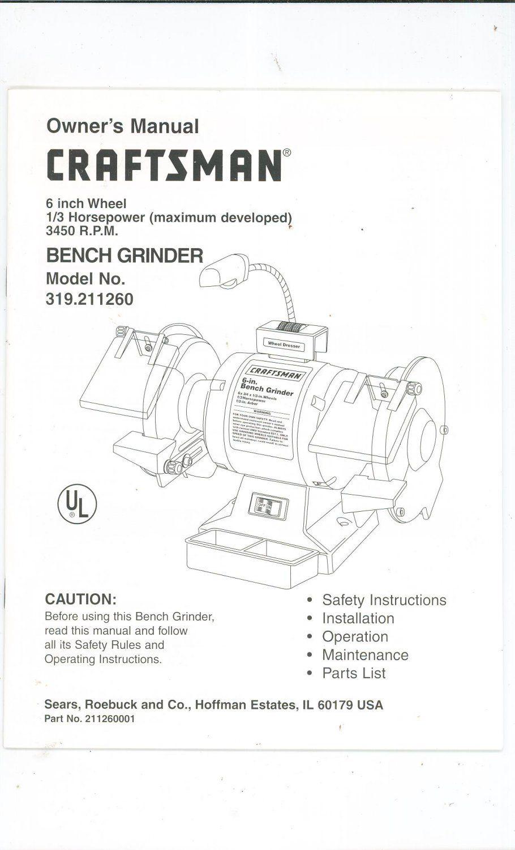 6 Inch Bench Grinder Craftsman In 2020 Bench Grinder Craftsman Benches Craftsman