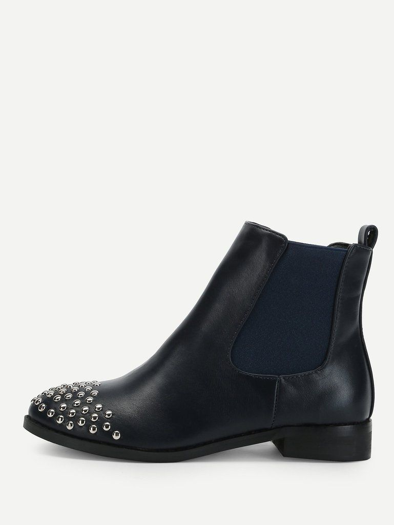 920a5ac630 Rivet Detail PU Ankle Boots in 2019 | Women's Shoes | Boots, Ankle ...