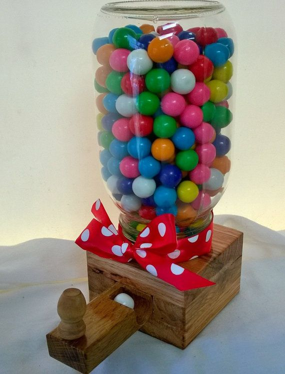 Handcrafted With Oak Wood and Mason Jar Candy Dispenser Machine