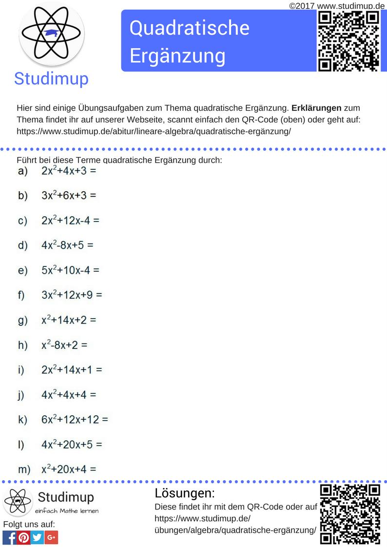Aufgaben zum üben der quadratischen Ergänzung mit Lösungen ...