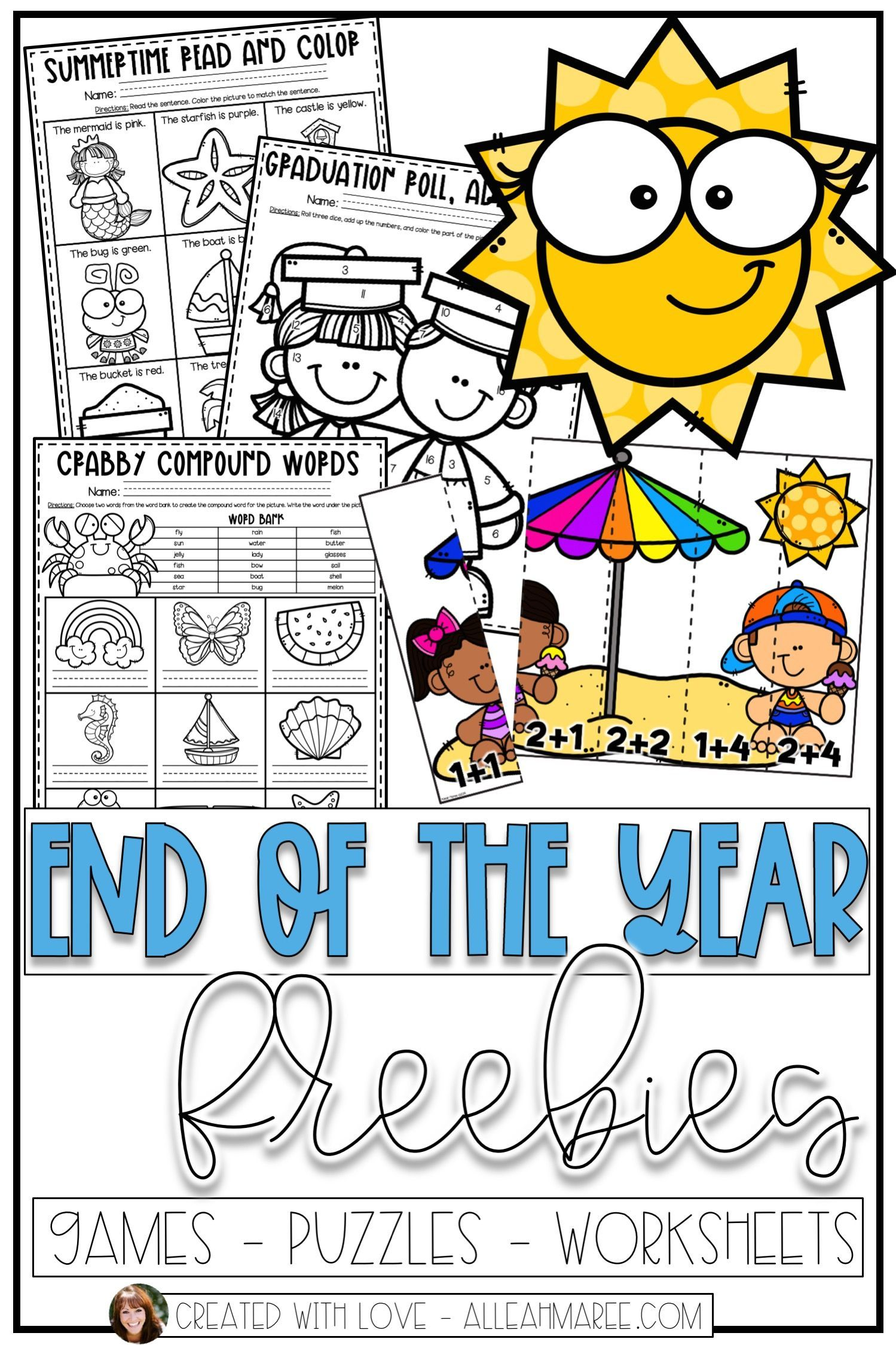 End Of The Year Freebies Puzzles Games And Worksheets