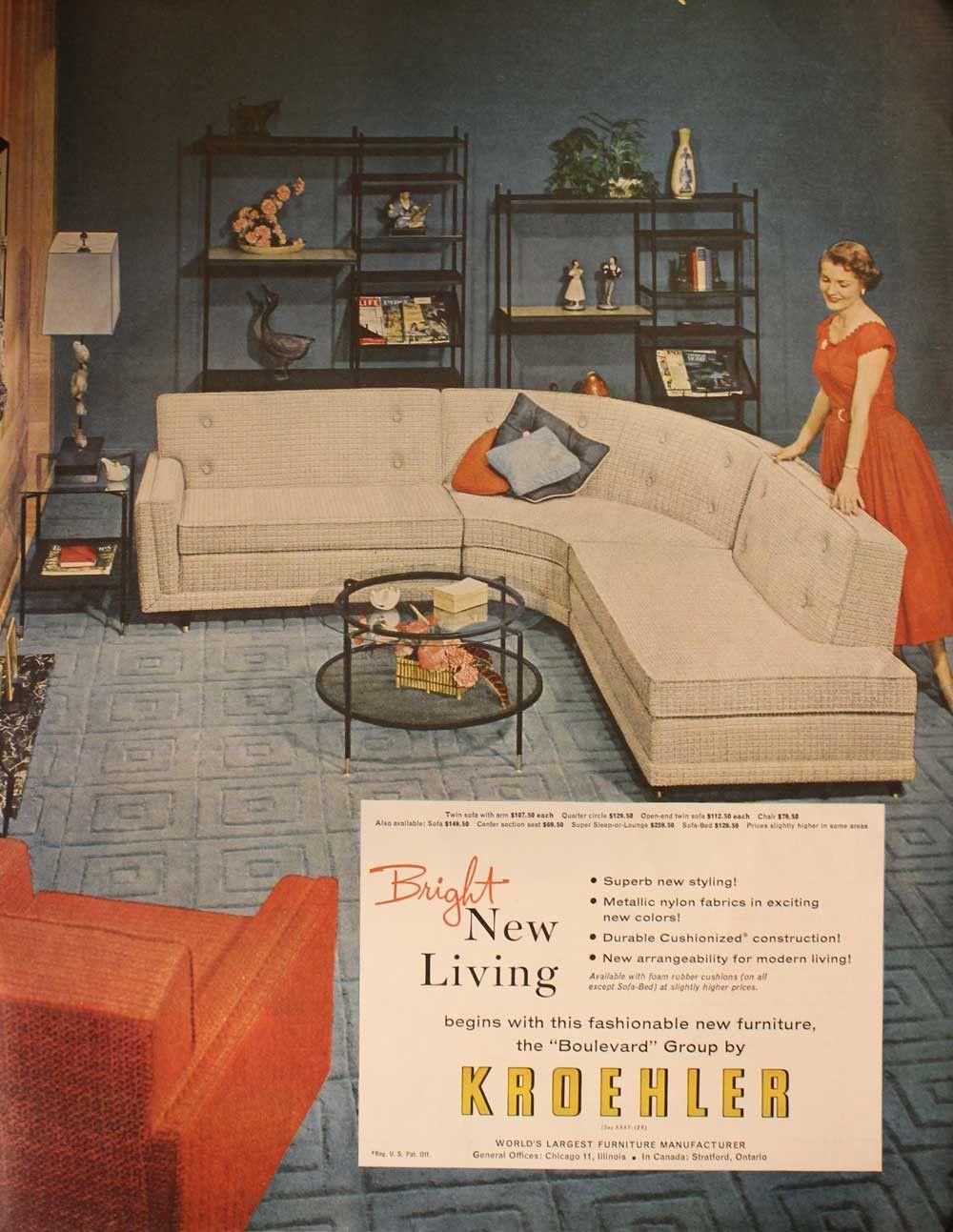 1955 Kroehler Furniture Magazine Ad From Saturday Evening Post Mid Century Modern Sofa Kroehler Furniture Modern Vintage Furniture