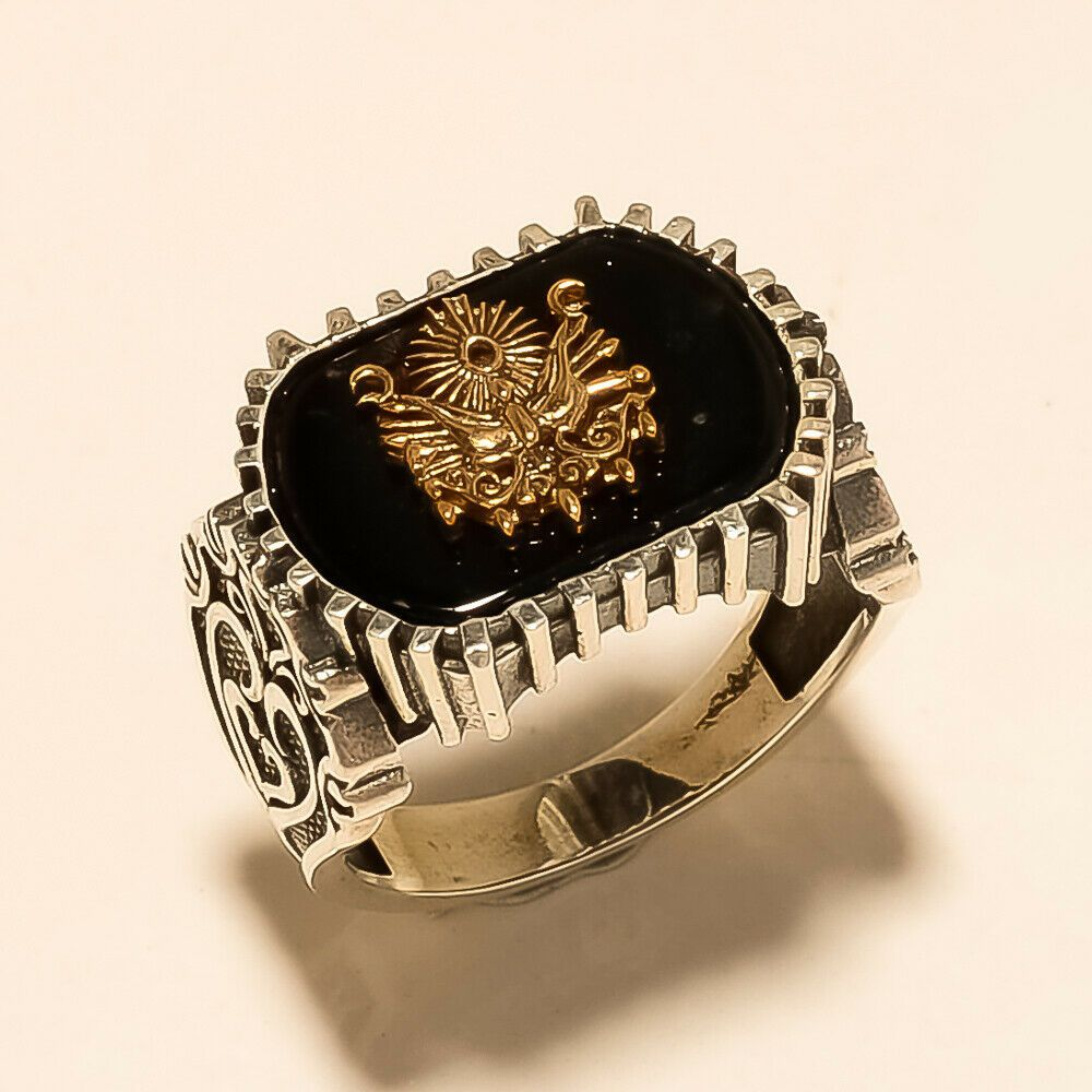 Natural Egyptian Black Onyx Men's Ring Symbol Of Power Two