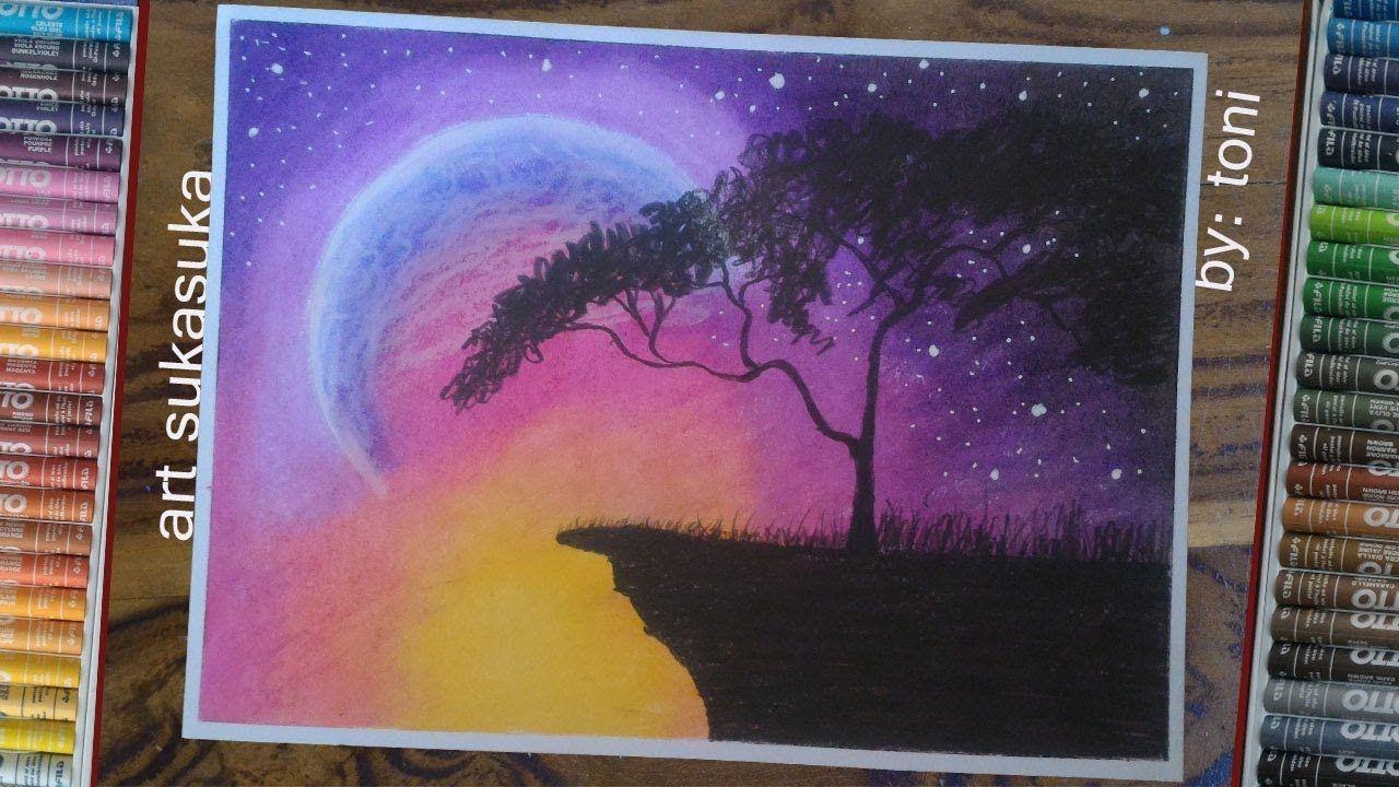 melukis langit malamgambar step by step menggunakan