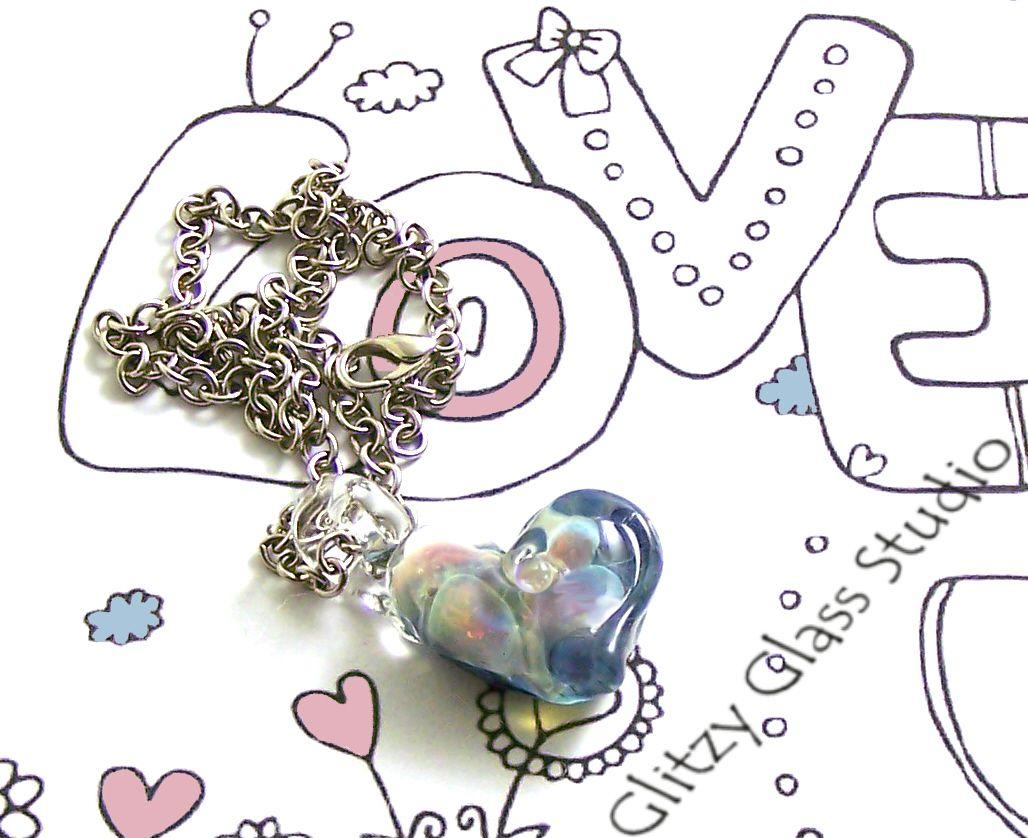 Handmade Glassblown Heart Nugget Necklace by DeMarie