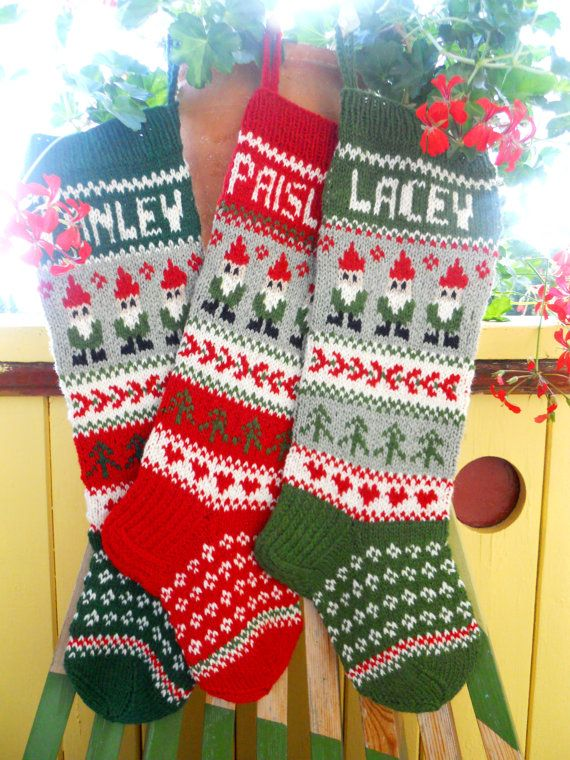 Hand knit Christmas Stocking with gnomes by KnittingsWithSense ...