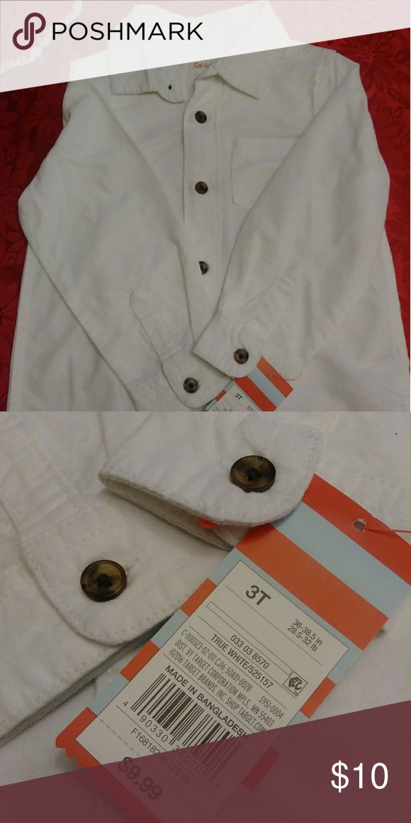 63b19a188dc Cat   Jack Boys Shirt White long sleeve shirt with brown buttons. NEW with  tags! Never worn! 3T Cat   Jack Shirts   Tops Button Down Shirts