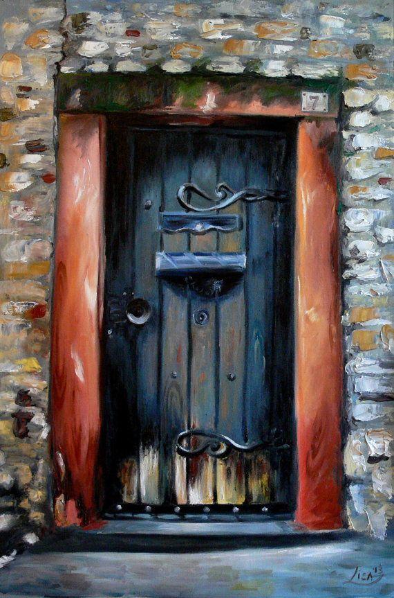 Painting Old Interior Doors: Original Oil Painting Old Door 35 X 24