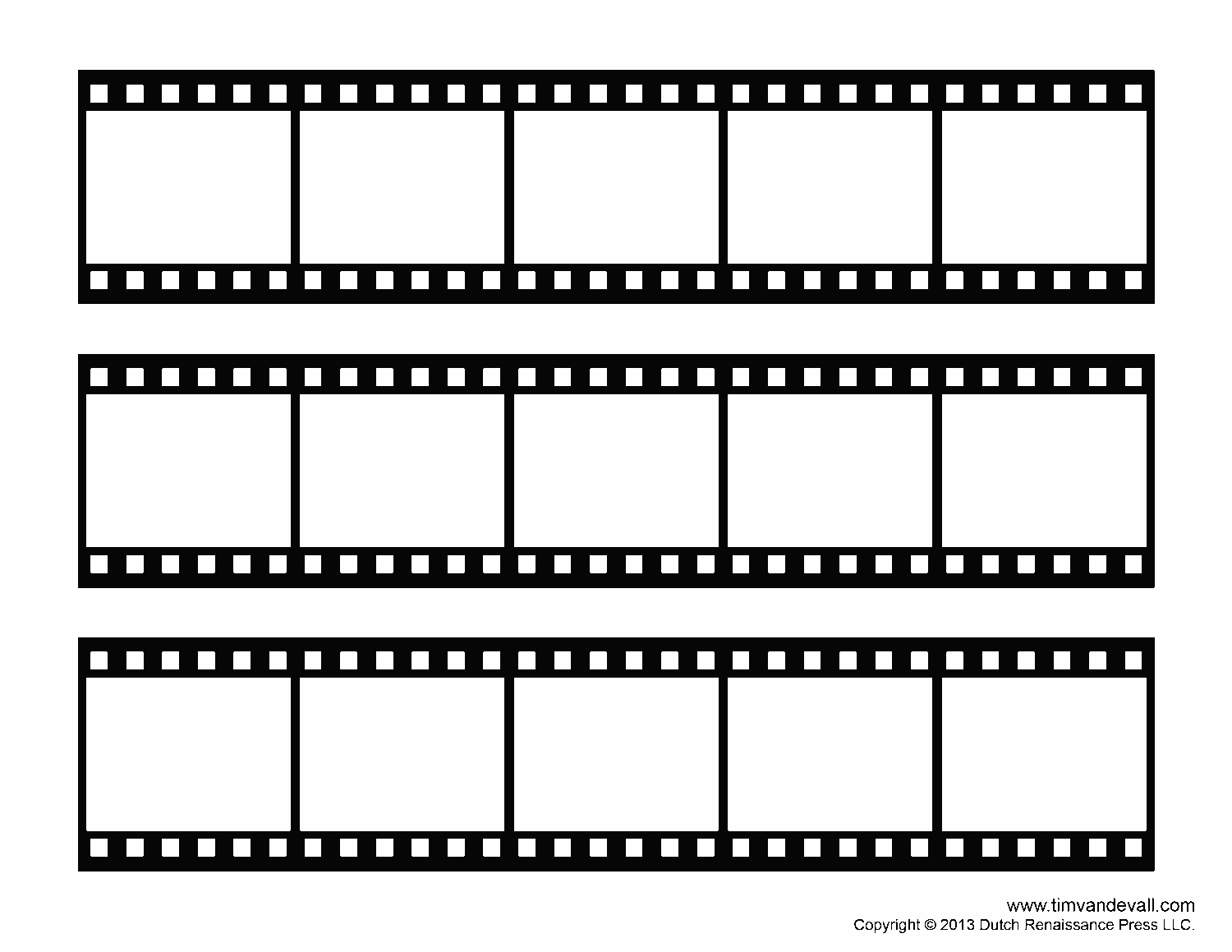 blank film strip template for a photo collage or movie