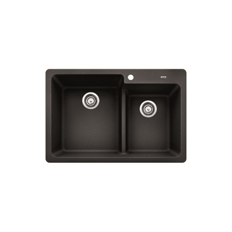 Blanco 441604 Anthracite Grandis 33 Drop In Or Undermount Silgranit Double Bowl Kitchen Sink With 60 40 Split And Low Divide Double Basin Composite Kitchen Sinks Double Basin Sink