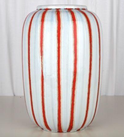 Keramik Vase Bodenvase hellblau rot gestreift Germany 111/30