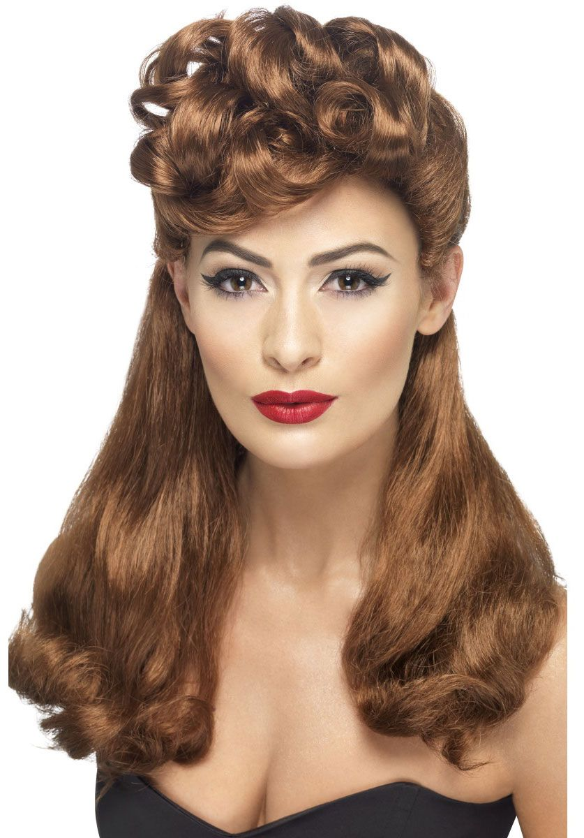1940s vintage style wig, ladies long auburn rockabilly wig - 50's