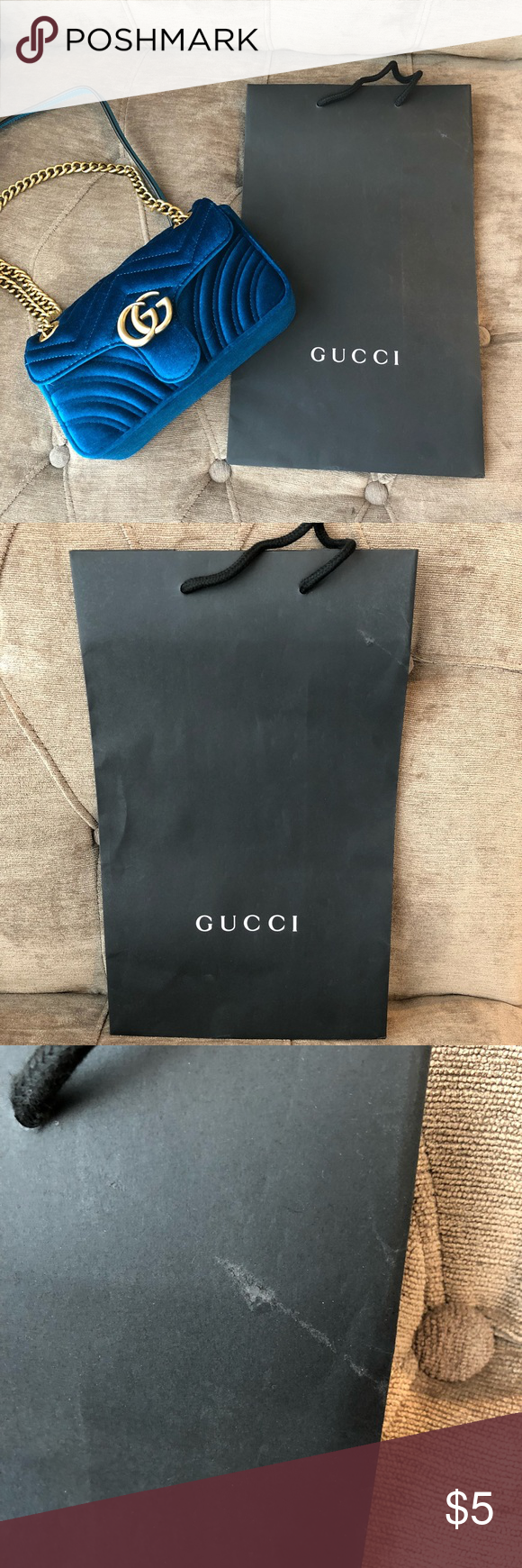 "f8b54d634e7 Authentic Gucci Paper Bag Medium Size Authentic Gucci Paper Bag Medium  Size. 15""x9"
