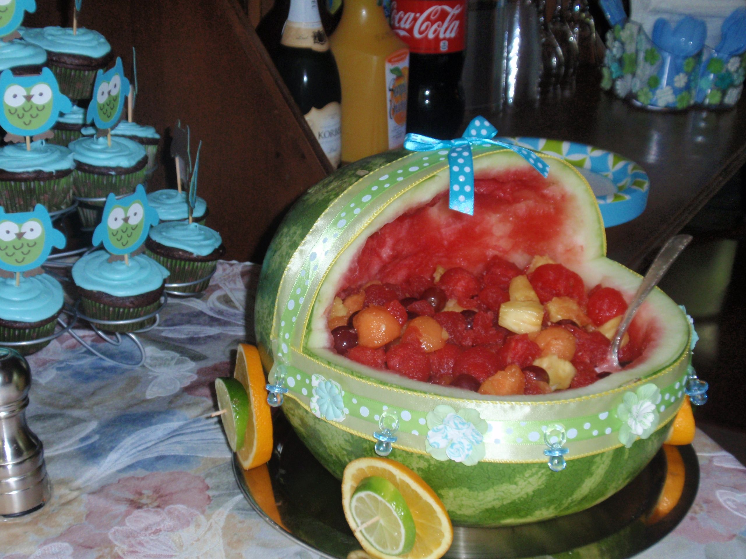 Baby carriage watermelon fruit bowl baby shower ideas pinterest