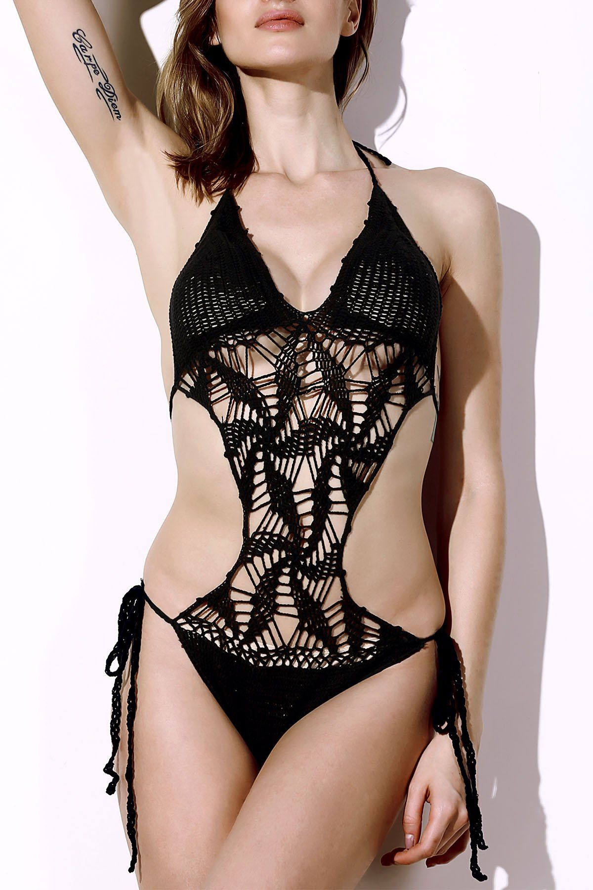 a5c9a2d082 Sexy Halter Solid Color Hollow Out Knitted One-Piece Swimwear For Women