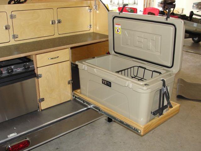 Slide out drawer for the cooler | tear drop camper | Cargo