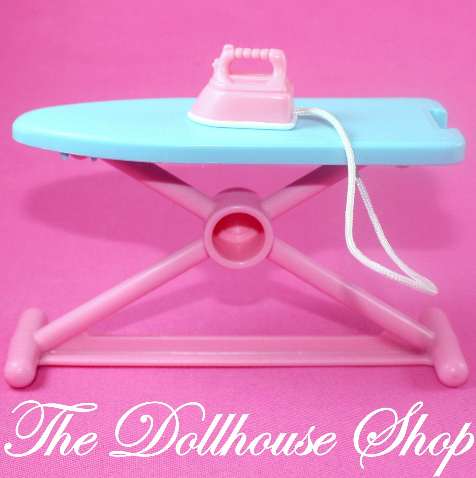 Fisher Price Loving Family Dream Dollhouse Laundry Ironing Board Iron Blue Pink