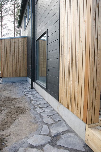 Honka showhouse Markki has a natural colour palette combining dark staiden solid wood and larch panelling. Honka log homes.