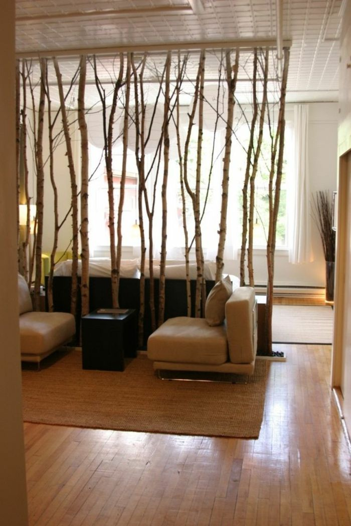 Separador de ambientes divisor de ambientes de ramas de for Ambientes minimalistas interiores