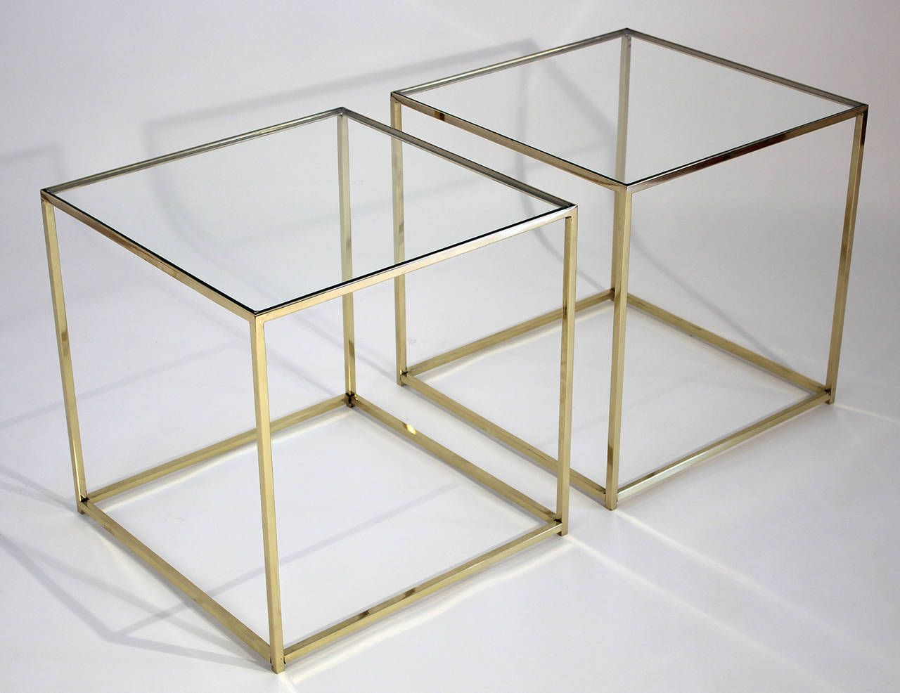 Brass And Glass Cube Side Tables