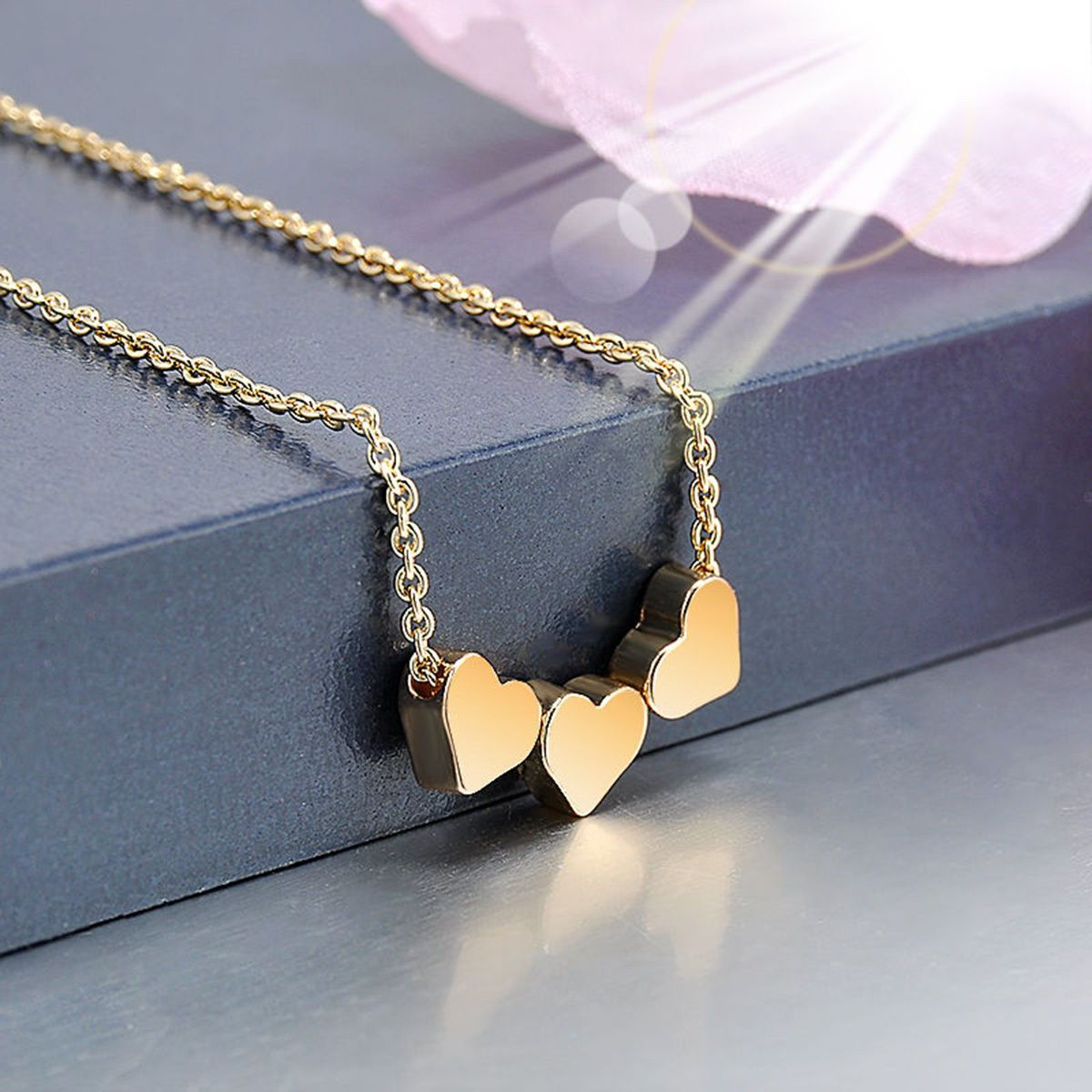 Fashion Stainless Steel Women Jewelry Three Heart Chain Pendant Necklace