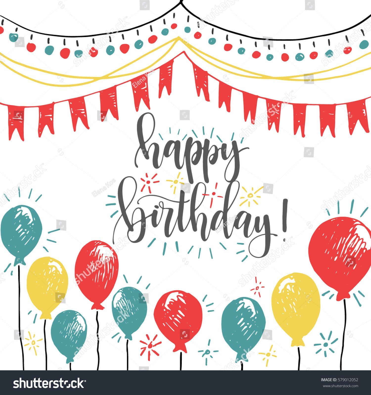 Happy Birthday Calligraphy Hand Written Greeting Card