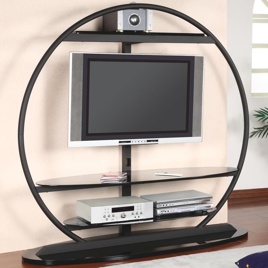 Large Round Dark Wood Oak TV Stand Clear Glass Shelves