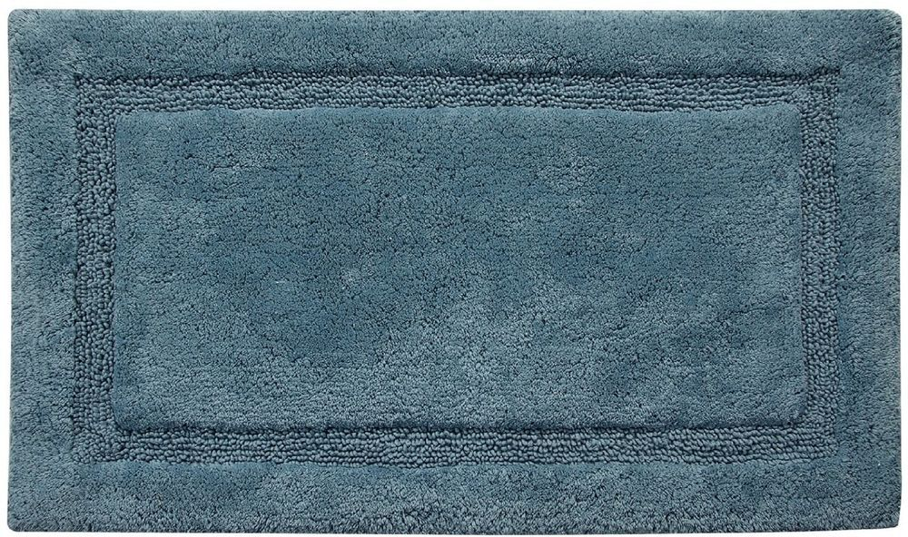 Eco Friendly Arctic Blue Cotton Bath Rug Textured Border Design 21